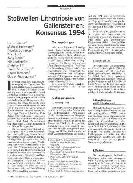 Stoßwellen-Lithotripsie von Gallensteinen