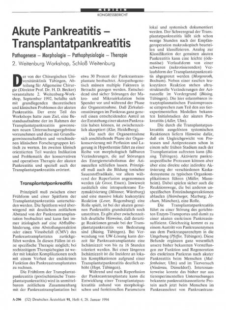 Akute Pankreatitis Transplantatpankreatitis