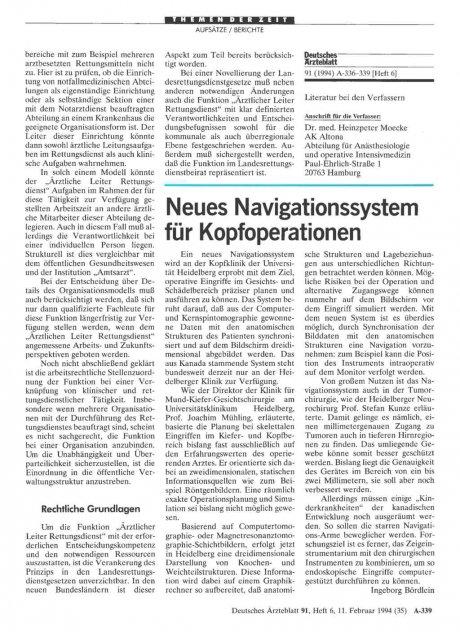 Neues Navigationssystem für Kopfoperationen