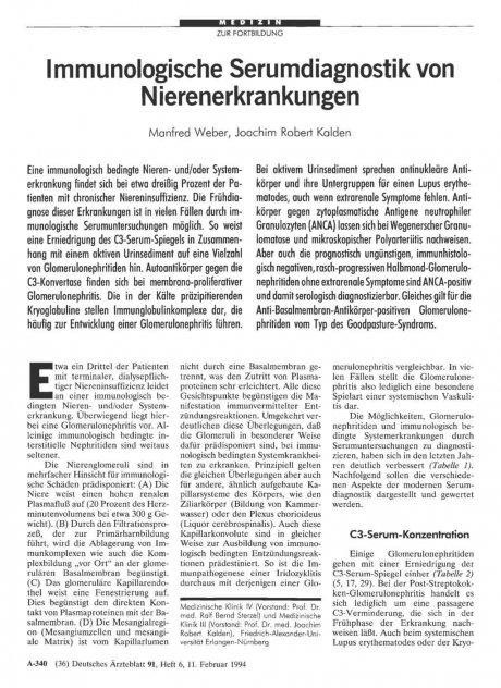 Immunologische Serumdiagnostik von...