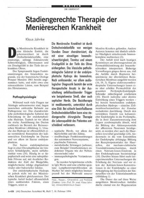 Stadiengerechte Therapie der Meniäreschen...