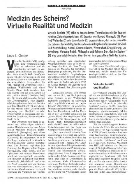 Medizin des Scheins? Virtuelle Realität und...
