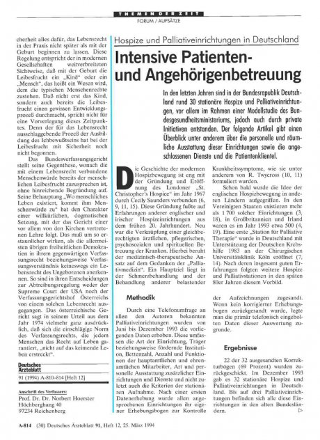 Hospize und Palliativeinrichtungen in Deutschland