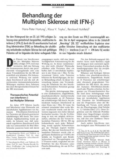 Behandlung der Multiplen Sklerose mit IFN-ß