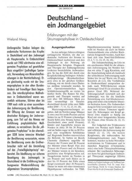 Deutschland ein Jodmangelgebiet