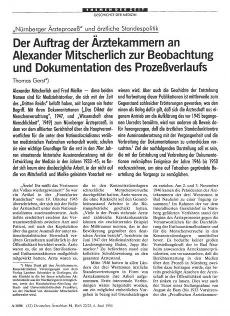 """""""Nürnberger Ärzteprozeß"""" und ärztliche..."""
