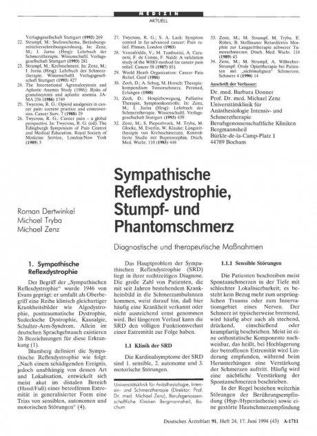 Sympathische Reflexdystrophie, Stumpf- und...