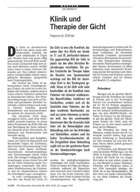 Klinik und Therapie der Gicht