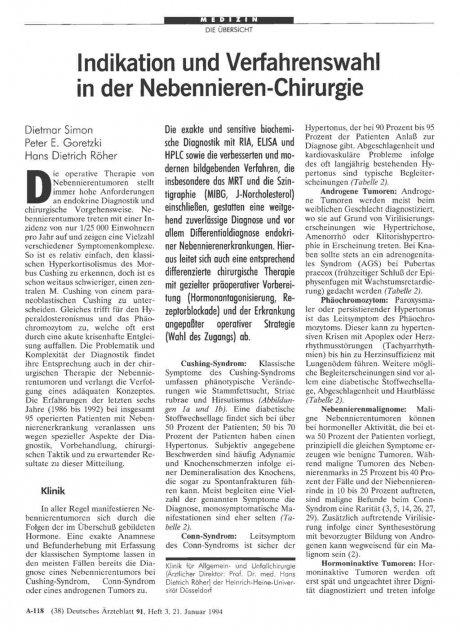 Indikation und Verfahrenswahl in der...
