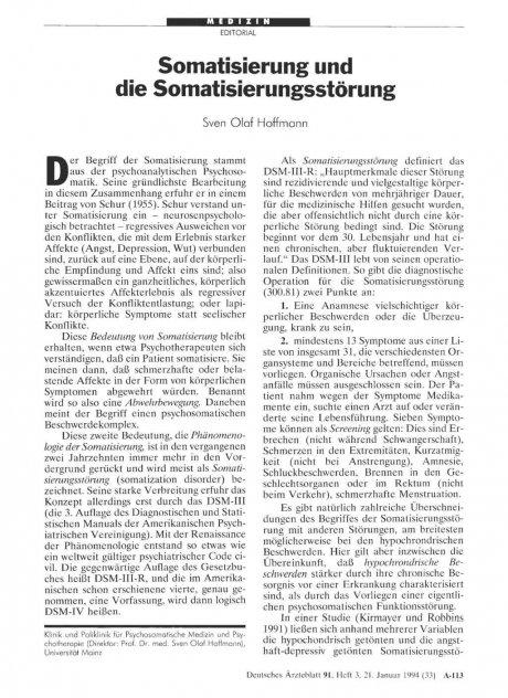 Somatisierung und die Somatisierungsstörung
