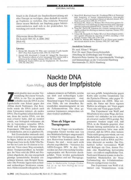 Nackte DNA aus der Impfpistole