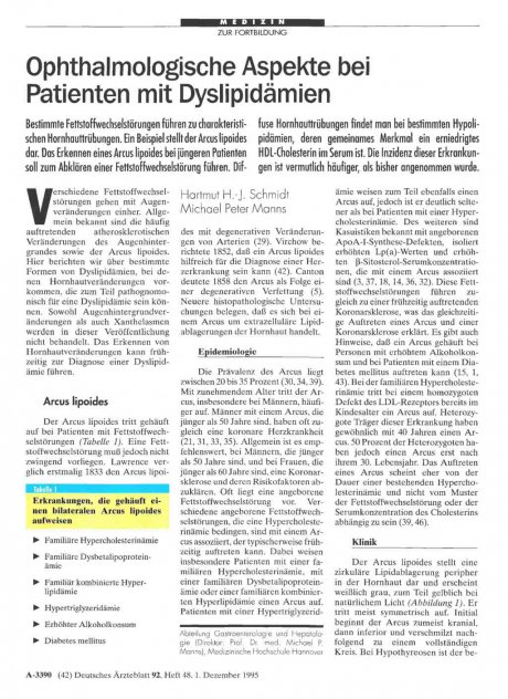 Ophthalmologische Aspekte bei Patienten mit Dyslipidämien