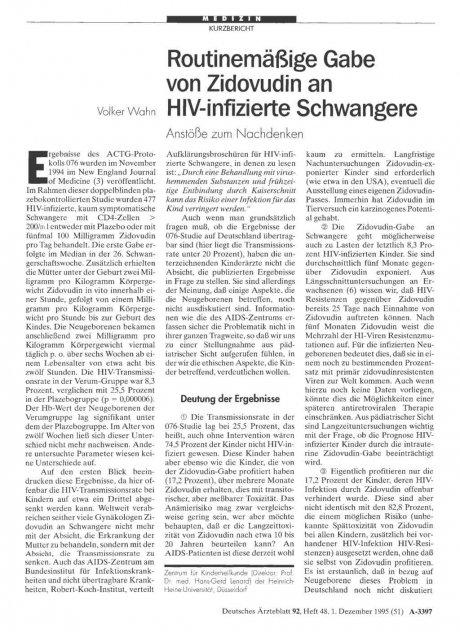 Routinemäßige Gabe von Zidovudin an HIV-infizierte Schwangere: Anstöße zum Nachdenken