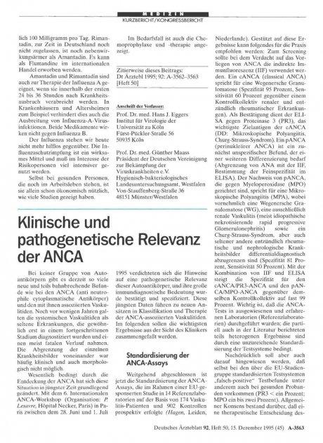 Klinische und pathogenetische Relevanz der ANCA