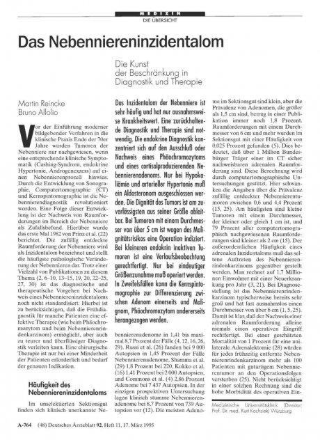 Das Nebenniereninzidentalom: Die Kunst der Beschränkung in Diagnostik und Therapie