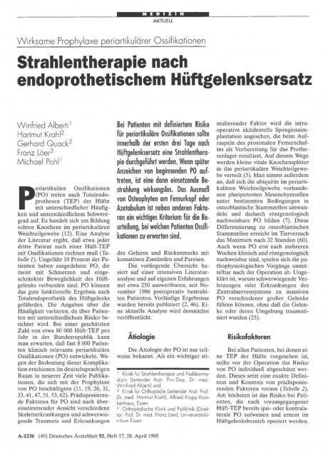 Wirksame Prophylaxe periartikulärer Ossifikationen: Strahlentherapie nach endoprothetischem Hüftgelenksersatz