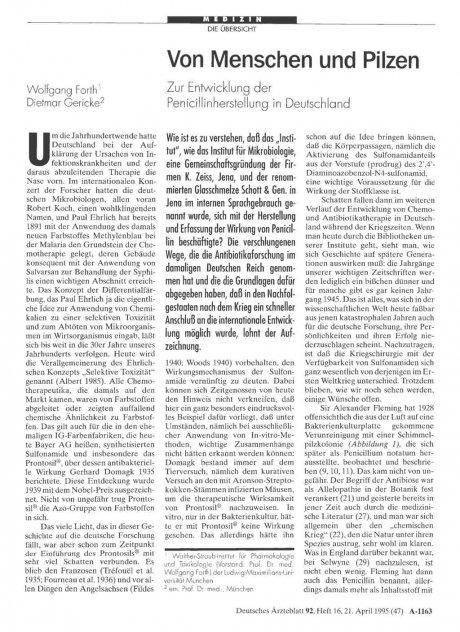 Von Menschen und Pilzen: Zur Entwicklung der Penicillinherstellung in Deutschland