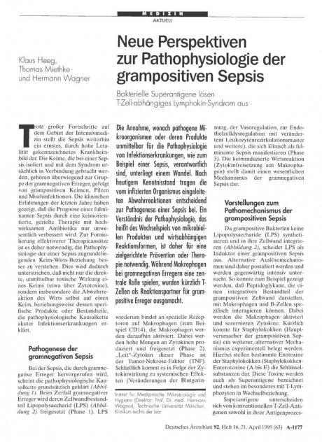 Neue Perspektiven zur Pathophysiologie der grampositiven Sepsis: Bakterielle Superantigene lösen T-Zell-abhängiges Lymphokin-Syndrom aus