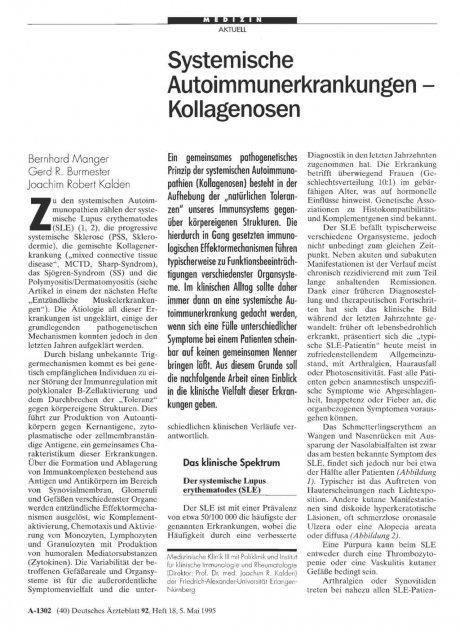 Systemische Autoimmunerkrankungen – Kollagenosen