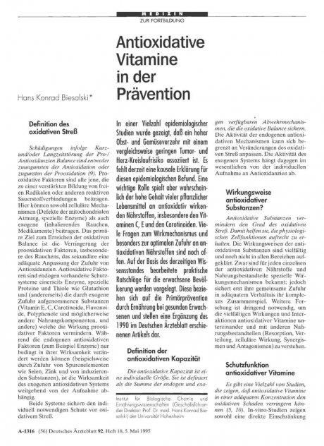 Antioxidative Vitamine in der Prävention