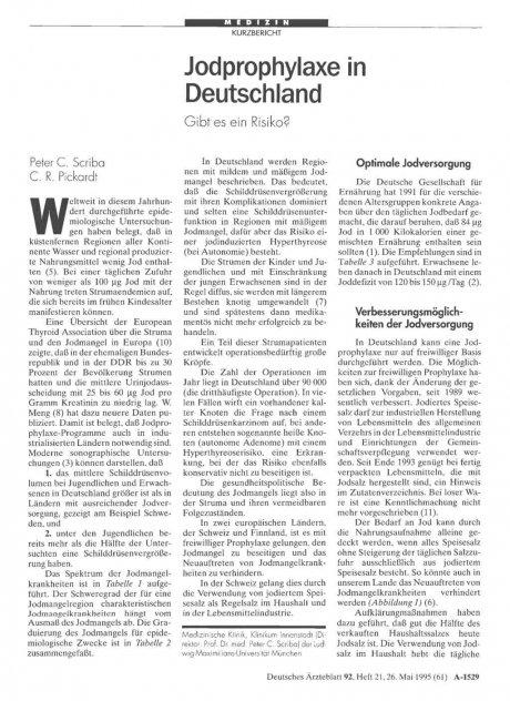 Jodprophylaxe in Deutschland: Gibt es ein Risiko?