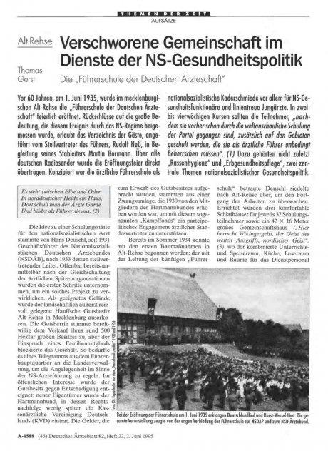 Alt Rehse: Verschworene Gemeinschaft im Dienste der NS-Gesundheitspolitik