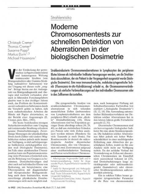 Strahlenrisiko: Moderne Chromosomentests zur schnellen Detektion von Aberrationen in der biologischen Dosimetrie