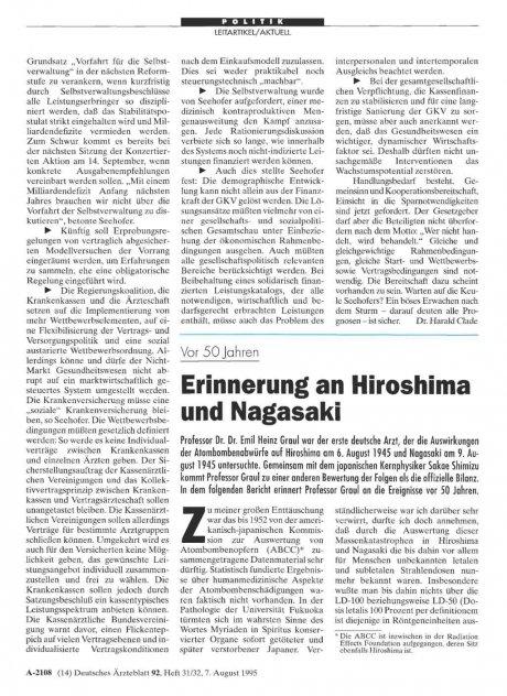 Vor 50 Jahren: Erinnerung an Hiroshima und Nagasaki