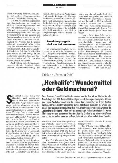 """Kritik an """"Formula-Diät"""" """"Herbalife"""""""