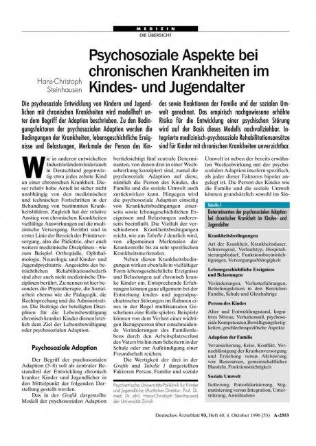 Psychosoziale Aspekte bei chronischen Krankheiten...