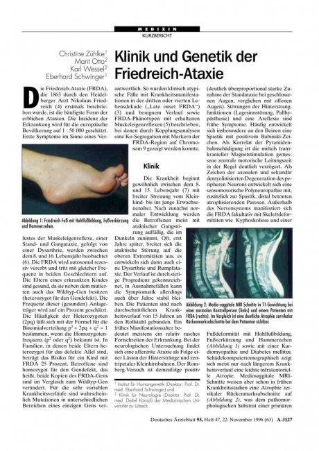 Klinik und Genetik der Friedreich-Ataxie