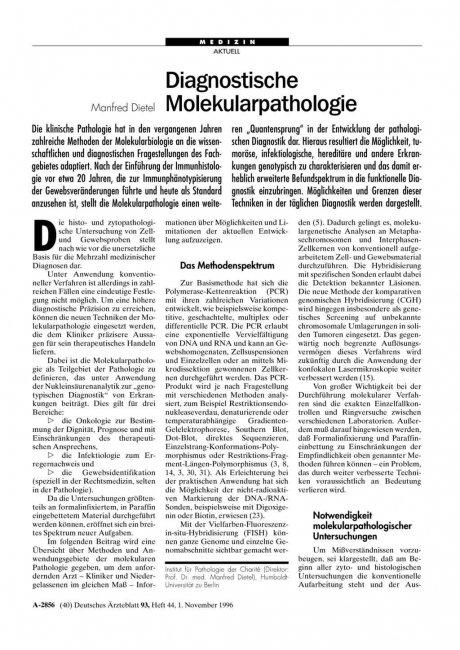Diagnostische Molekularpathologie