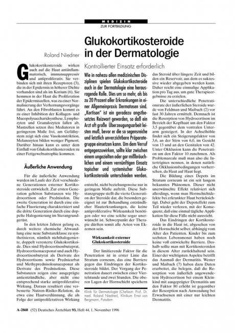 Glukokortikosteroide in der Dermatologie