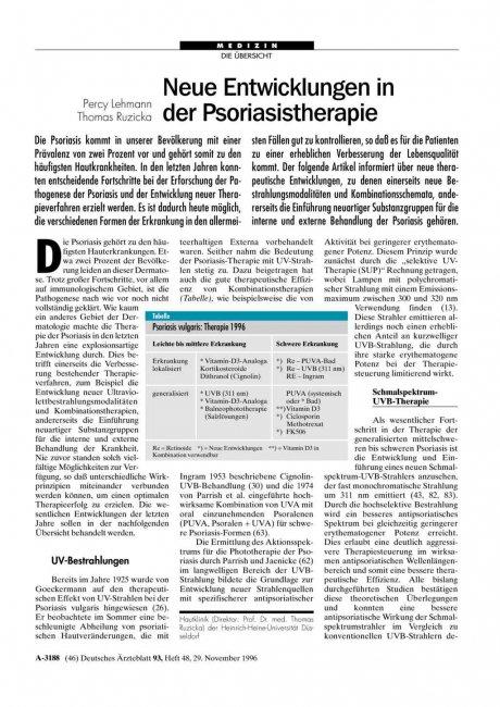 Neue Entwicklungen in der Psoriasistherapie
