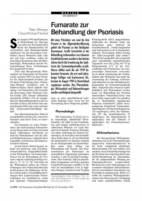 Fumarate zur Behandlung der Psoriasis