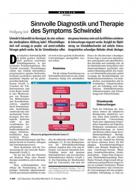 Sinnvolle Diagnostik und Therapie des Symptoms Schwindel