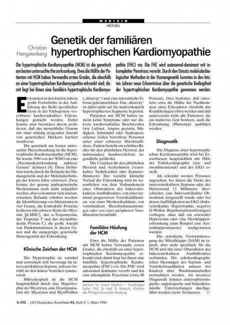 Genetik der familiären hypertrophischen Kardiomyopathie