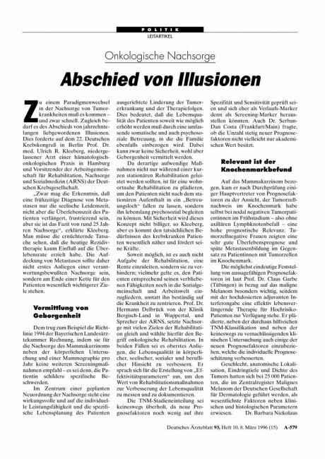 Onkologische Nachsorge: Abschied von Illusionen