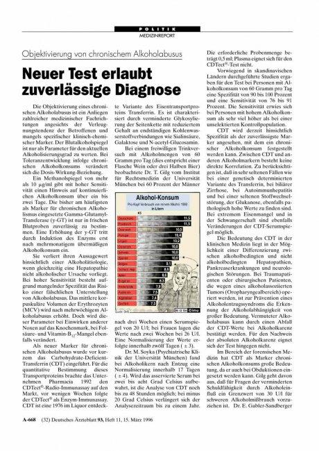 Objektivierung von chronischem Alkoholabusus: Neuer Test erlaubt zuverlässige Diagnose