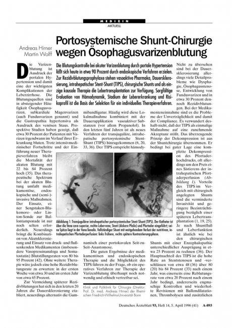 Portosystemische Shunt-Chirurgie wegen Ösophagusvarizenblutung