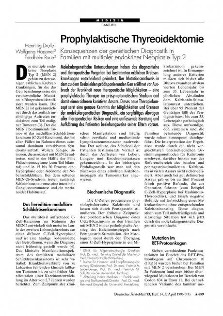 Prophylaktische Thyreoidektomie: Konsequenzen der genetischen Diagnostik in Familien mit multipler endokriner Neoplasie Typ 2