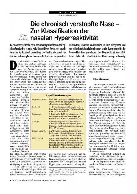 Die chronisch verstopfte Nase – Zur Klassifikation...