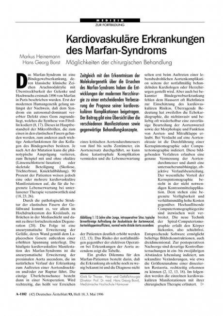 Kardiovaskuläre Erkrankungen des Marfan-Syndroms