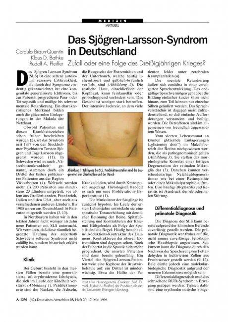 Das Sjögren-Larsson-Syndrom in Deutschland: Zufall oder eine Folge des Dreißigjährigen Krieges?