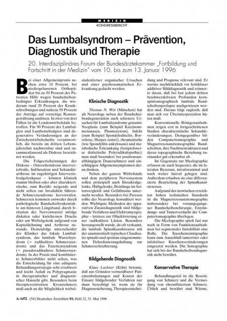 Das Lumbalsyndrom – Prävention, Diagnostik und...