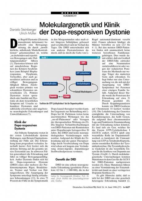 Molekulargenetik und Klinik der Dopa-responsiven...
