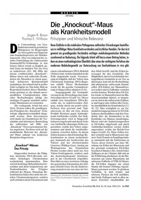 """Die """"Knockout""""-Maus als Krankheitsmodell: Prinzipien und klinische Relevanz"""
