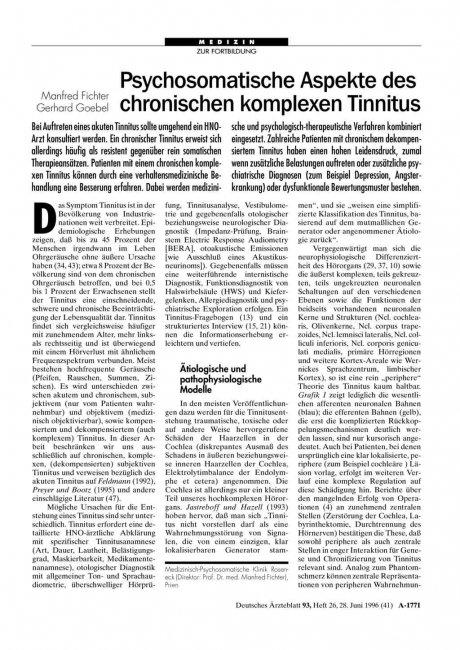 Psychosomatische Aspekte des chronischen komplexen Tinnitus