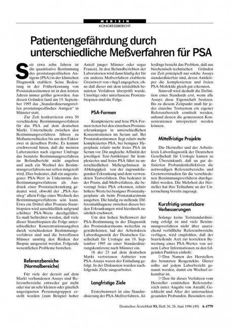 Patientengefährdung durch unterschiedliche Meßverfahren für PSA