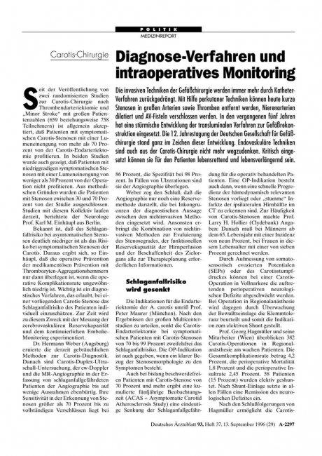 Carotis-Chirurgie: Diagnose-Verfahren und intraoperatives Monitoring